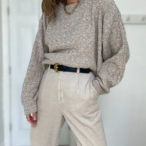 Vintage Textured Slouchy Knit Pullover
